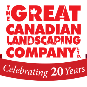 Great Canadian Landscaping Company Logo with 20 Year Anniversary Ribbon